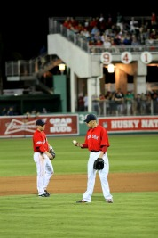Aceves inspects the ball
