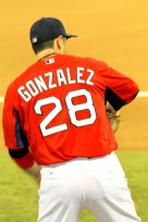 Adrian Gonzales playing catch