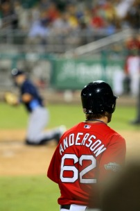 Lars Anderson heads to the plate