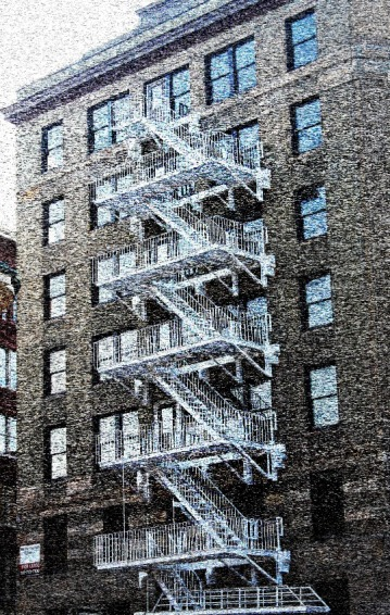 White Fire Escape 2-Downtown Portland Mezzotint