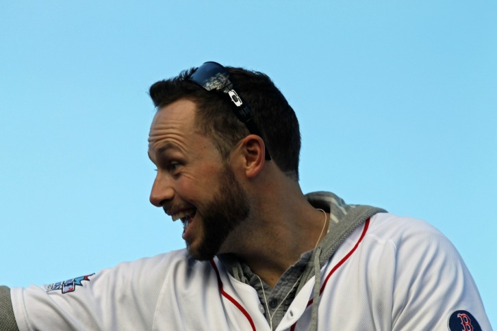 Daniel Nava at the Red Sox Rolling Celebration, November 2, 2013