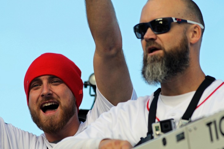 Will Middlebrooks and David Ross, Red Sox Rolling Party, November 2, 2013