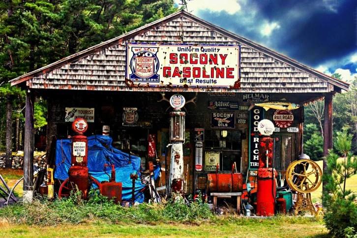 Old Socony Gas Pumps, Wells, Maine